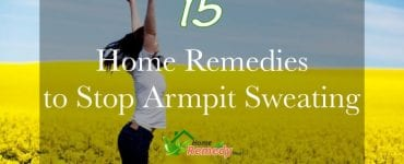 woman jumping in a field of yellow flowers caption how to remove armpit sweat