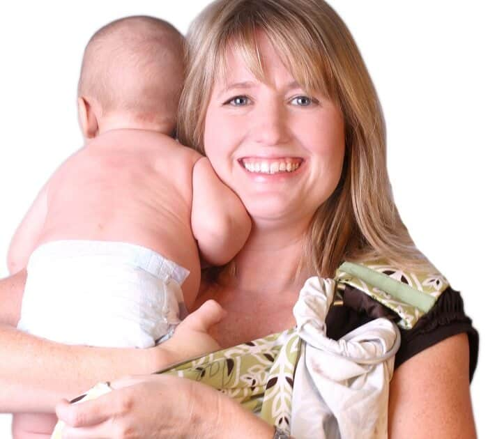 Mom holding baby upright