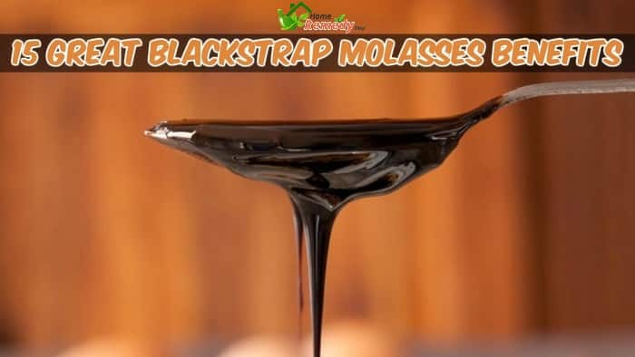 Blackstrap Molasses dripping from spoon with caption benefits of