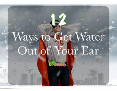 frustrated man covering ears how to get water out of ear caption