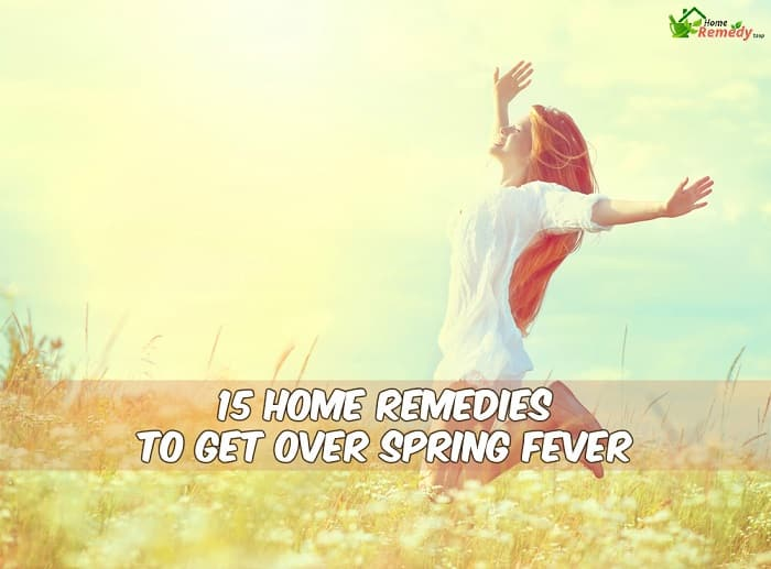 girl jumpping in a field in spring with caption home remedies