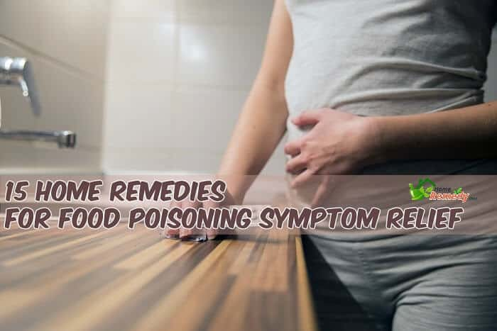 home remedies for food poisoning woman holding stomach and pills