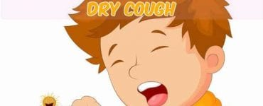 kid coughing dry cough with caption cartoon illustration