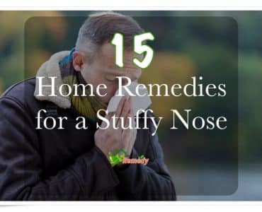 man with stuffy nose outside caption home remedies