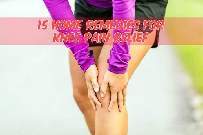 woman holding knee in pain caption home remeddies