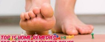 man stepping on board pins caption home remedies plantar fasciitis