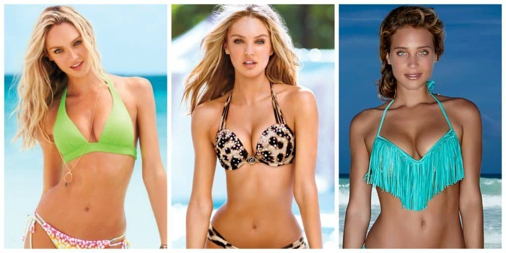 push up bikini photos of three models