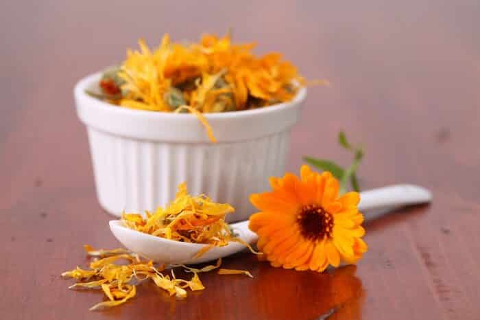 Calendula tea leaves and flowers