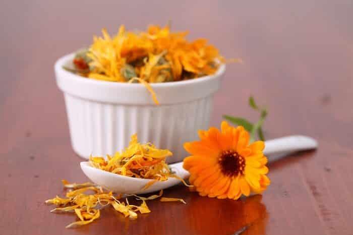 Calendula tea leaves and flowers