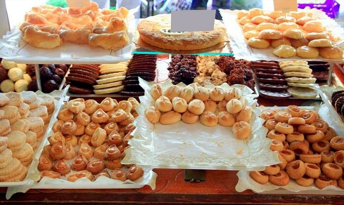 cakes and pastries in bakery
