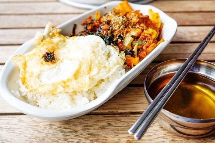 korean food on wood table