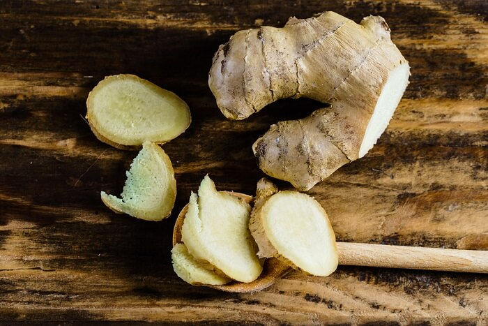 ginger pieces on a wooden board