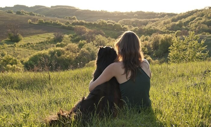 owner and dog hugging in a field