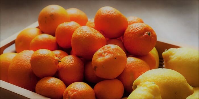 oranges tangerines and lemons in a basket