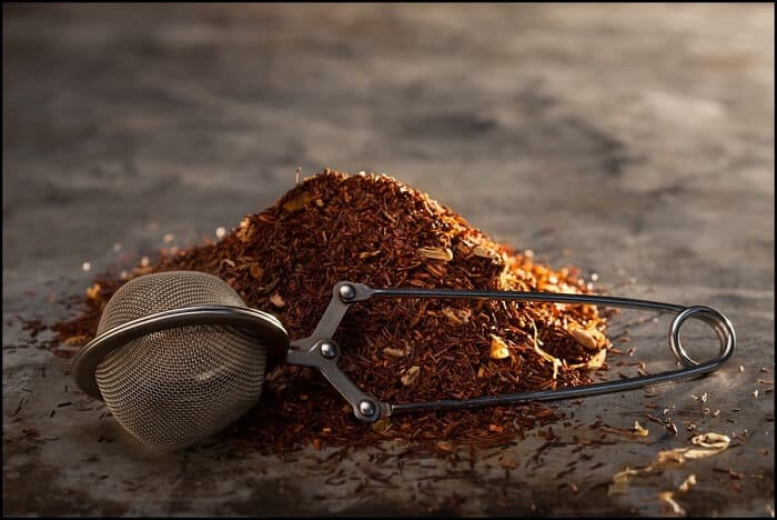 rooibos tea with strainer