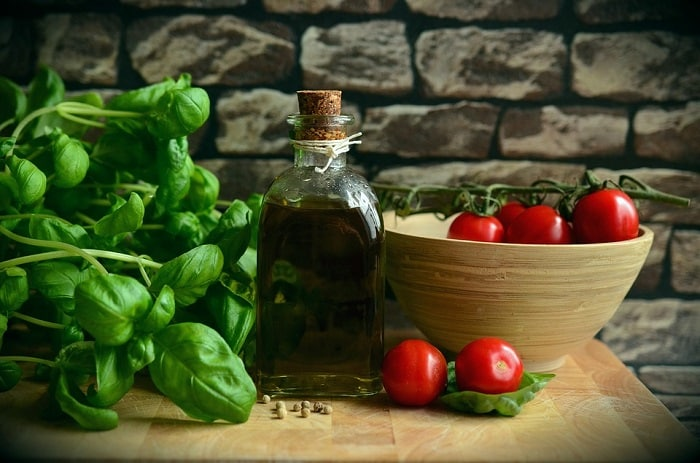 sweet basil and tomatoes