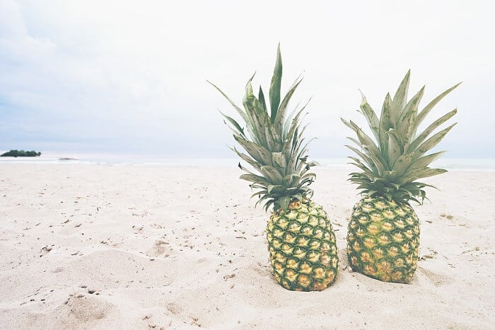 pineapples on beach