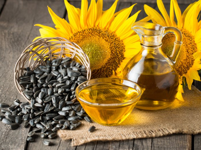Sunflower oil, flower, and seeds