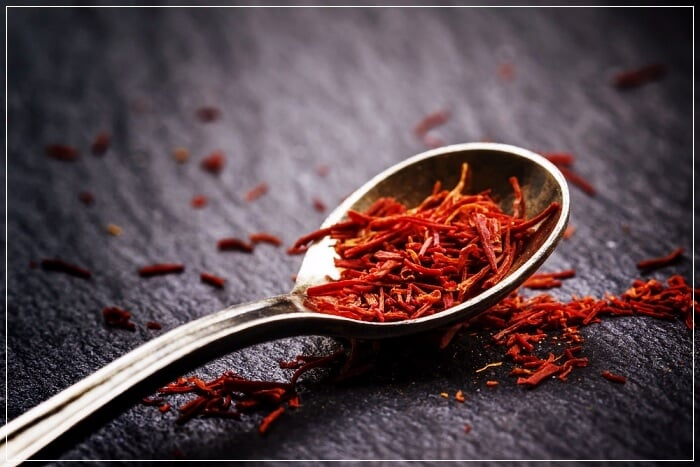 saffron in a spoon