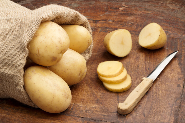sliced raw potatoes