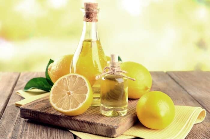 lemons next to lemon oil