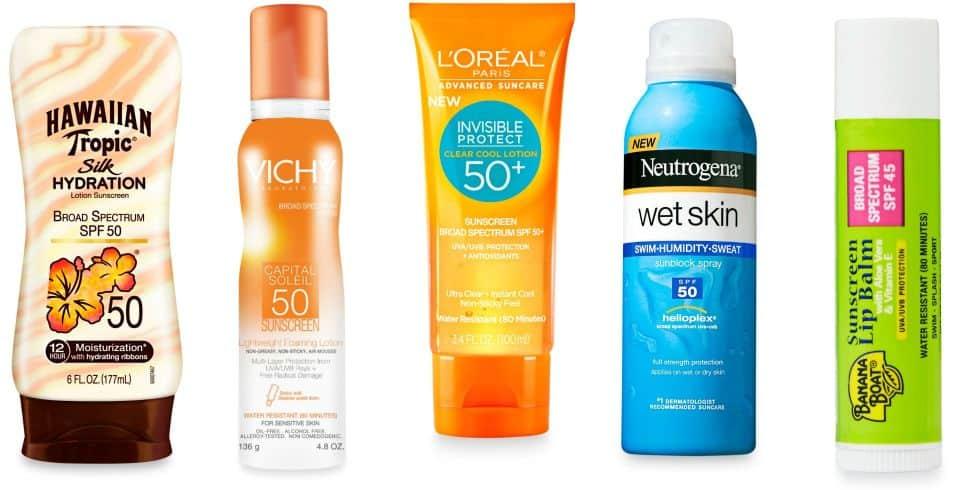 different brands of sunscreen