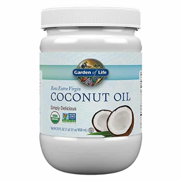 Best organic coconut oil - Garden of Life Raw Extra Virgin - product photo.