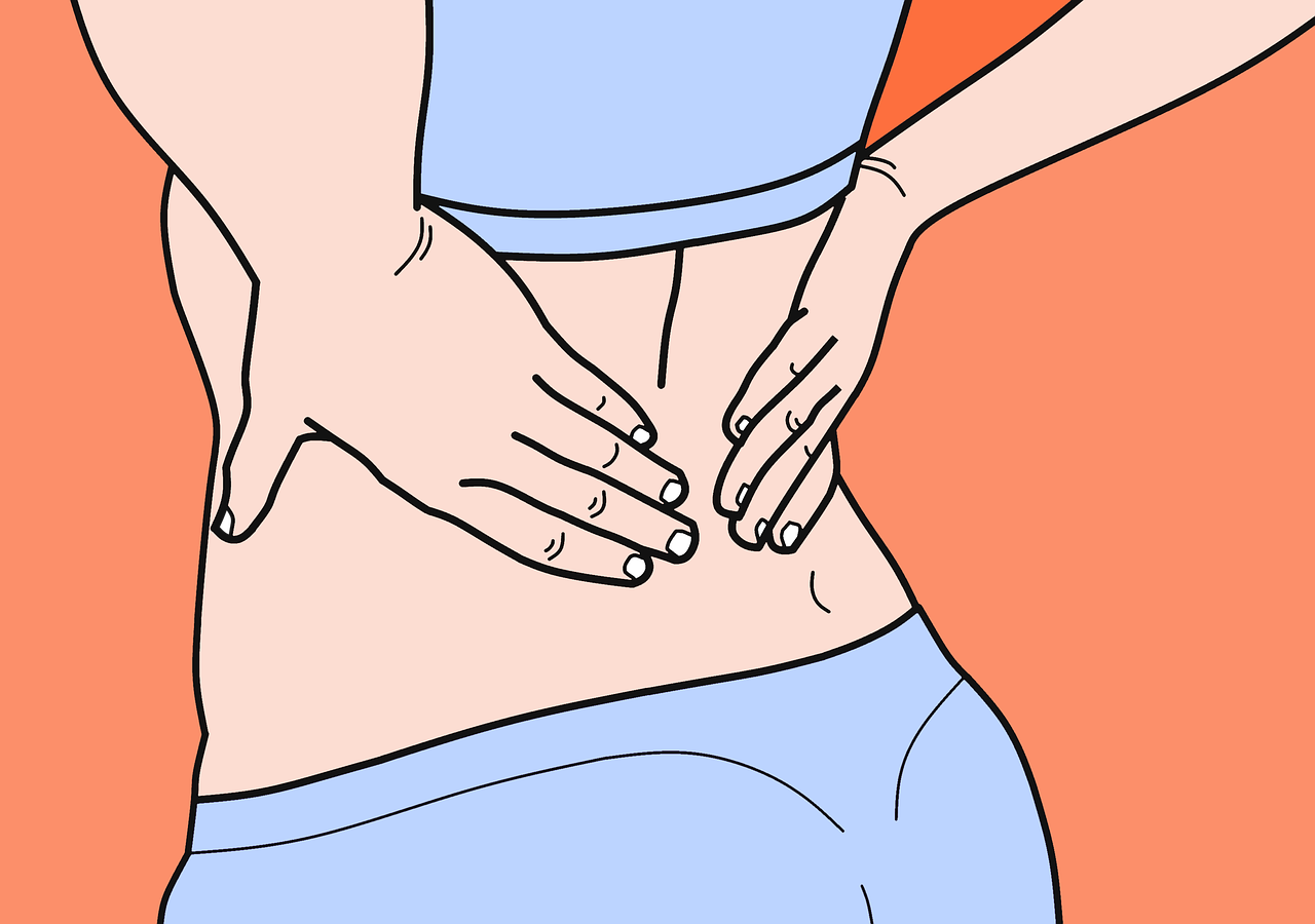 graphic illustration showing lower back pain, a possible symptoms of uti